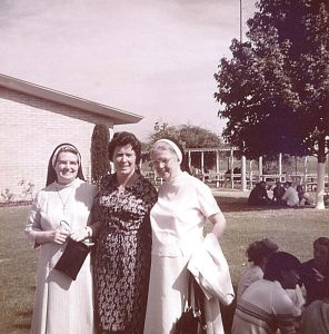 While at the prison camp in Fresno, Sister Rita Anne Houlihan (center) was visited by the Cenacle Superior General Rita Foy (left) and Assistant General Mary Ann Carroll (right). Photo courtesy of the North American Province of the Cenacle.